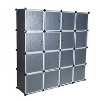 A Multi use Modern Storage Cabinet Best Plastic 16 Cube Wardrobe Closet Water proof Clothes Orgnizer DIY Assemble ON SALE