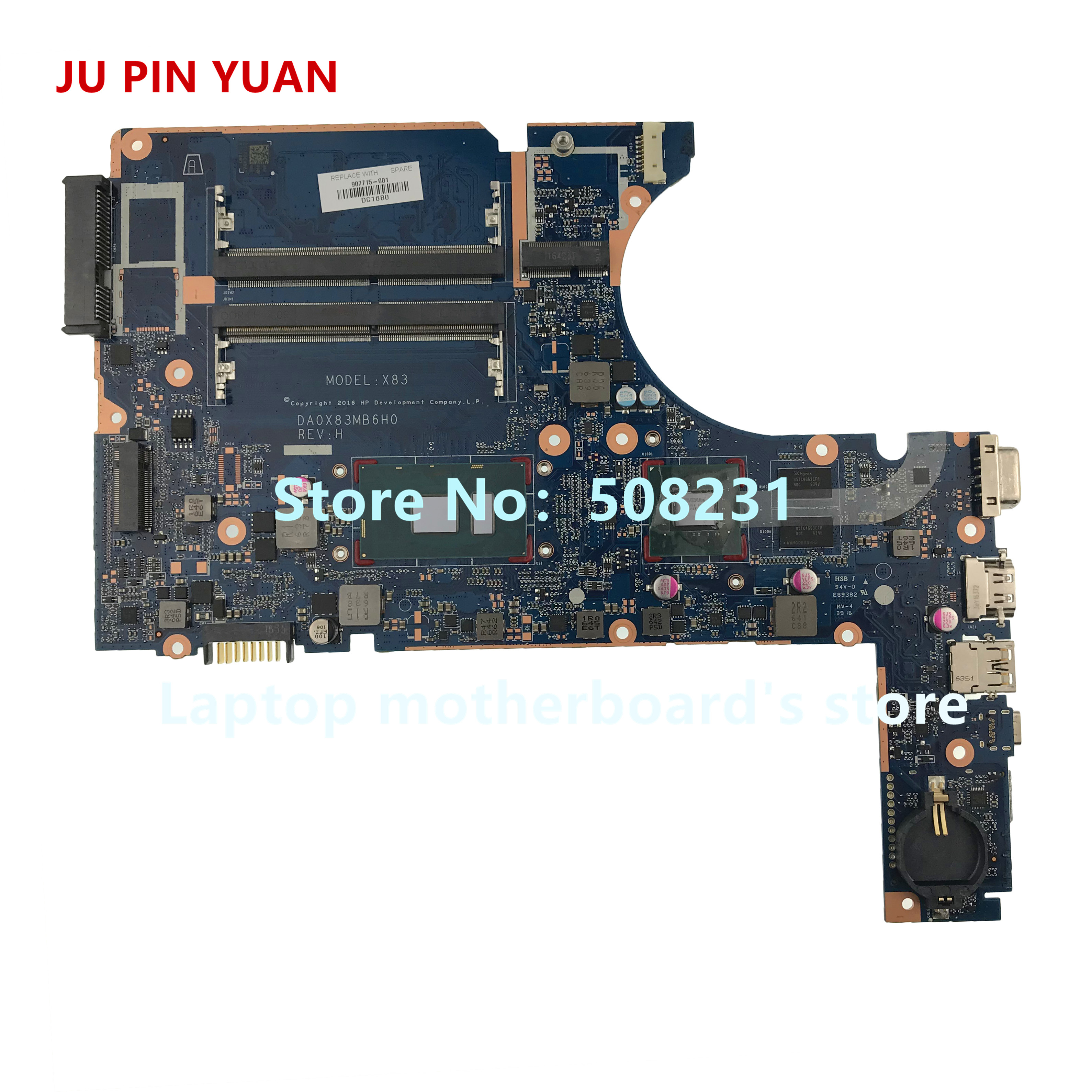 JU PIN YUAN pour HP ProBook 450 G4 470 G4 ordinateur portable PC 907715-601 907715-001 DA0X83MB6H0 ordinateur portable carte mère I7-7500U 930MX
