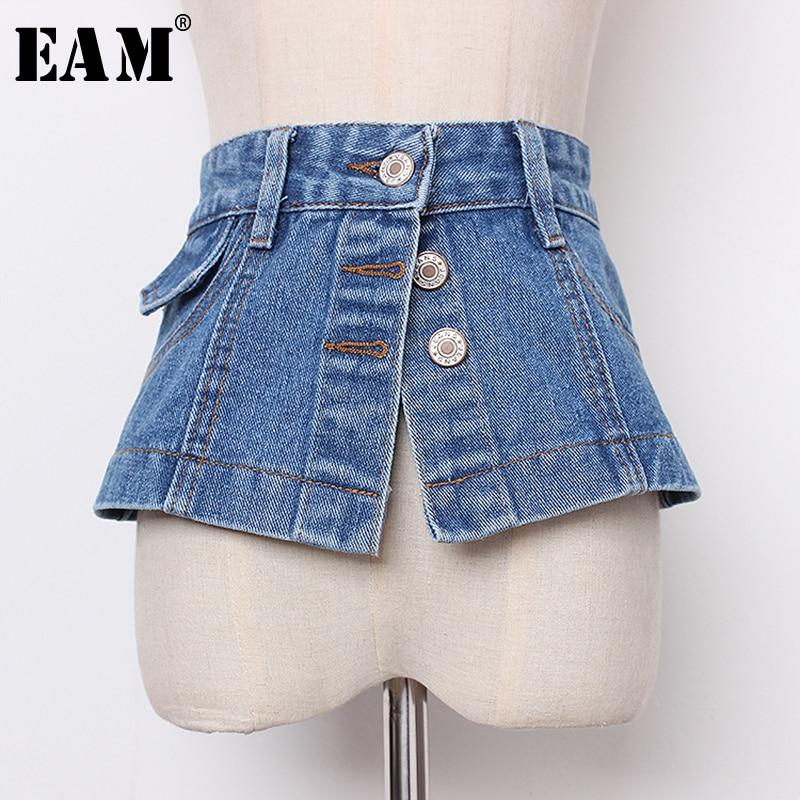[EAM] 2020 New Spring Summer Denim Personality Split Joint Irreguar Button Wide Belt Women Fashion Tide All-match JR896
