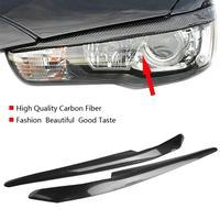 2Pcs Car Headlight Eyelids Eyebrows Carbon Fiber for Mitsubishi Lancer EVO X 10 2008 2014 Car Styling