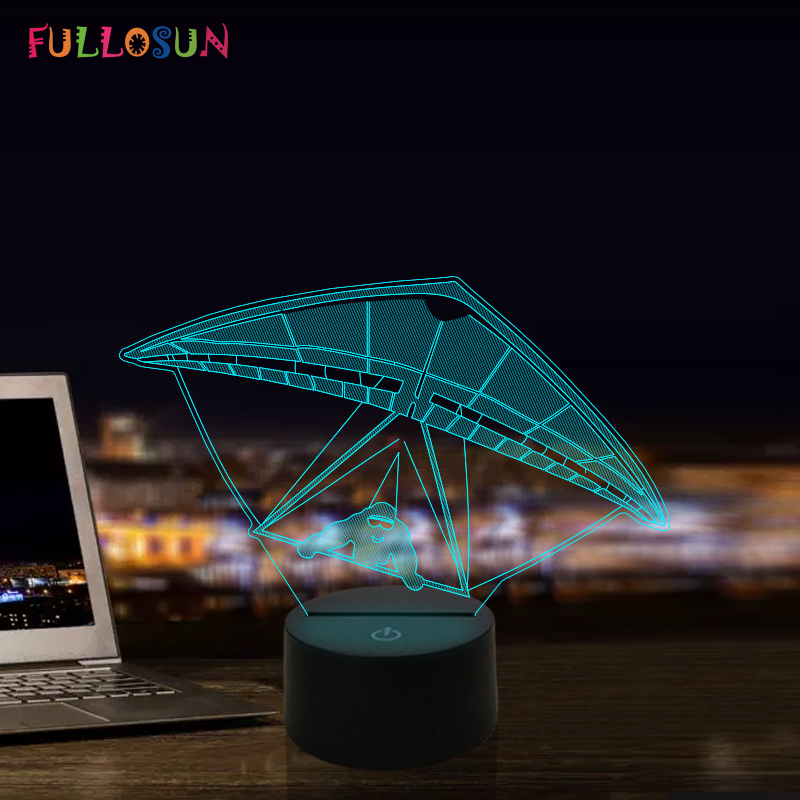 Paraglider Lamp 3D Night Light Kids Christmas Gift LED Table Lamp 7 Colors Flashing Lights Party Decoration in LED Night Lights from Lights Lighting