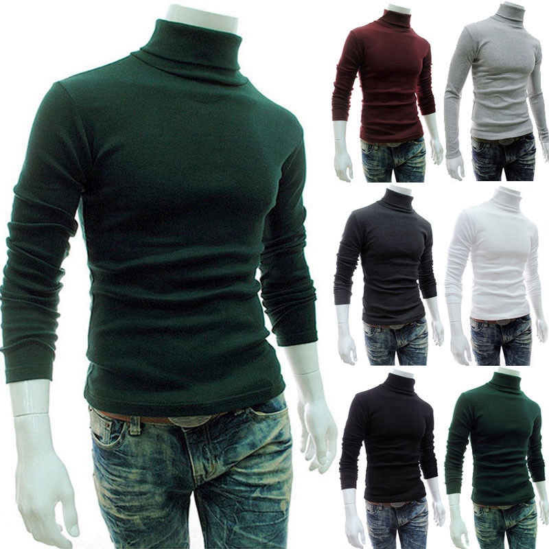 Mens Roll Neck Long Sleeve Cotton Solid Top Turtle Neck Basic   T     Shirt