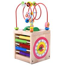 5 in 1 Multifunctional Wooden Cube Toy Abacus Clock Bead Labyrinth Game Early Learning Educational Toys for Children Kids