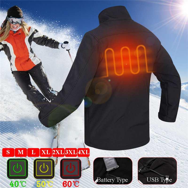 New Upgraded Mens Womens Outdoor USB Infrared/Heated Battery HeatingJacket Winter Carbon Fiber Electric Thermal Clothing Jacket цена в Москве и Питере