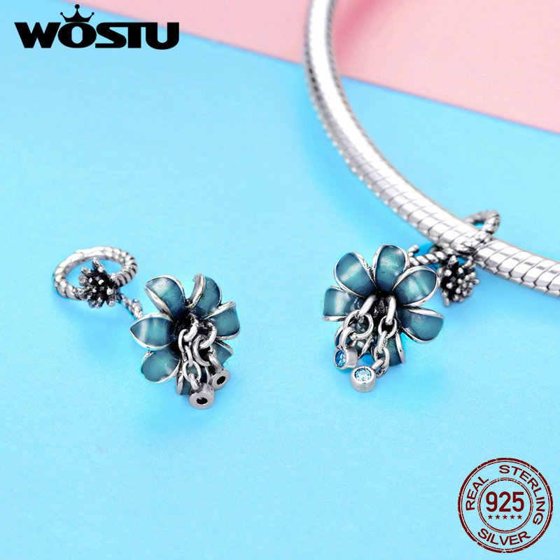 WOSTU di Lusso 925 Sterling Silver Blu Fiore di Orchidea Fascino Dei Branelli Misura Il Bracciale Originale Del Pendente Per Le Donne Monili Che Fanno CTC034