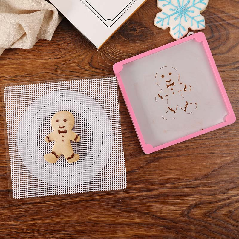 Cake Decoration Tools Baking Accessories Fondant Cookies Spray Mold Fixed Frame Plastic Cake Stencil Fixing Frames Printing Die
