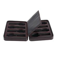8 Slot Portable Black Carbon Fiber PU Leather Watch Zipper Storage Bag Travel Jewlery Watch Box Bag Personalized Luxury Gift