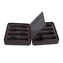 8 yuvası taşınabilir siyah karbon Fiber PU deri saat fermuarlı saklama çantası seyahat takı izle kutusu çantası kişiselleştirilmiş lüks hediye