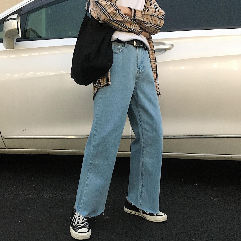 2019 Spring Men's New Baggy Homme Casual Wide Leg Pants Classic Cargo Pocket Jeans Blue/white Color Biker Denim Trousers M-XL