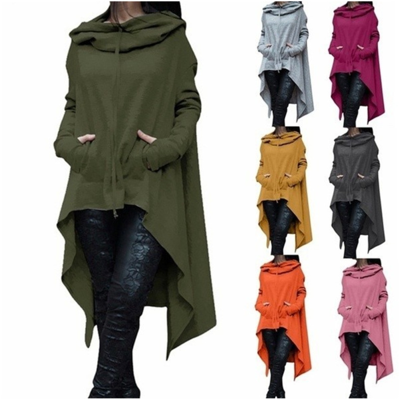 Autumn Winter Women Batwing Hooded Asymmetric Casual Long Sleeve Loose Coat Pullover Poncho Cape Sweatshirts Ladies Hoodies
