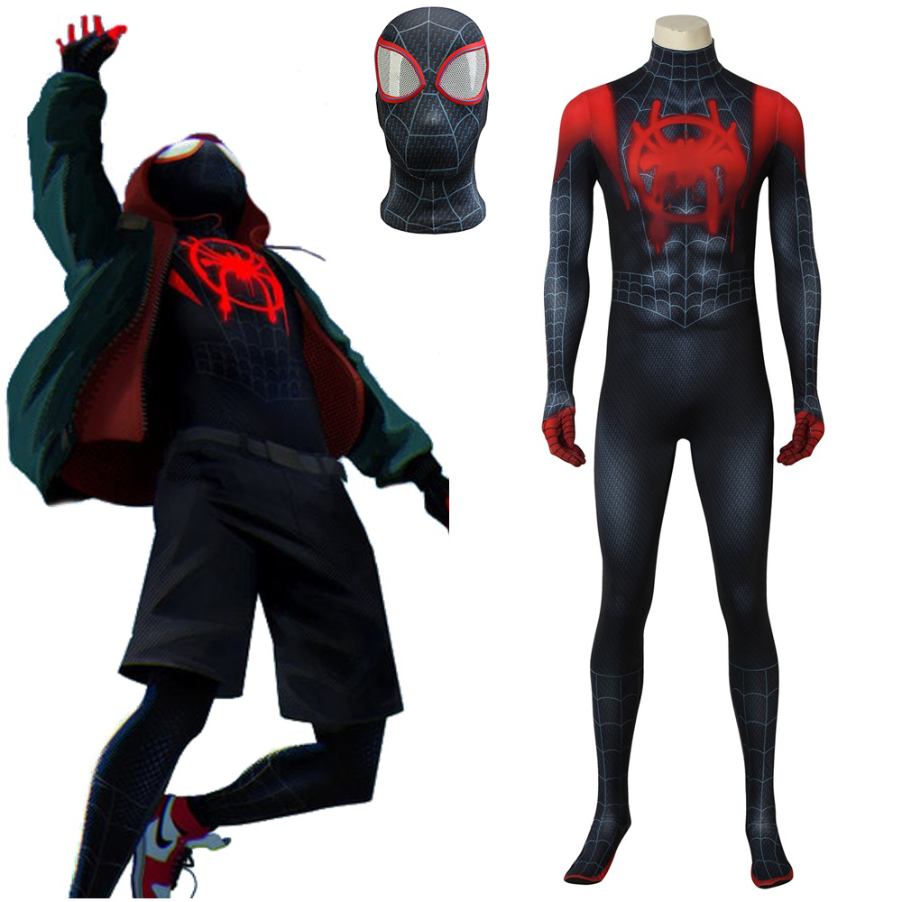 Spider Man: Into the Spider-Verse Miles Morales Cosplay Costume 3D Printed