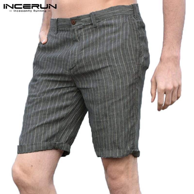 INCERUN Summer Streetwear Men Shorts Striped Cotton Slim Fit Breathable Casual Shorts Men Leisure Bermuda Shorts Hombre 2019 5XL