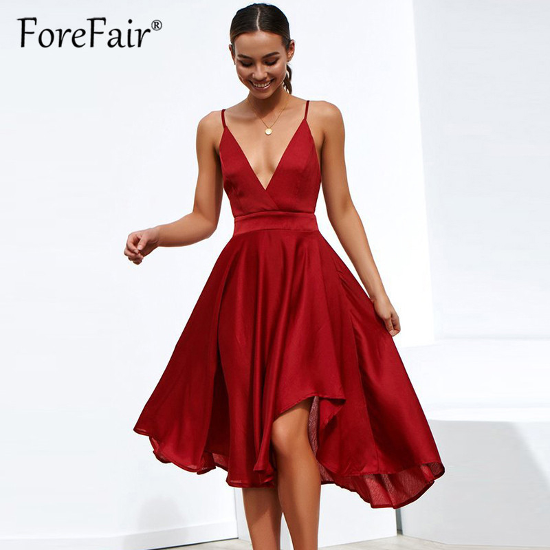 Forefair Plus Size Dress Summer 2019 Women Elegant Midi ...