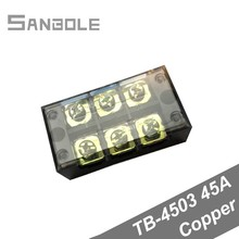 Copper TB-4503 Connection Dual Row Terminal block 45A 3 Positions Universal distribution cable Wiring Barrier (10pcs)