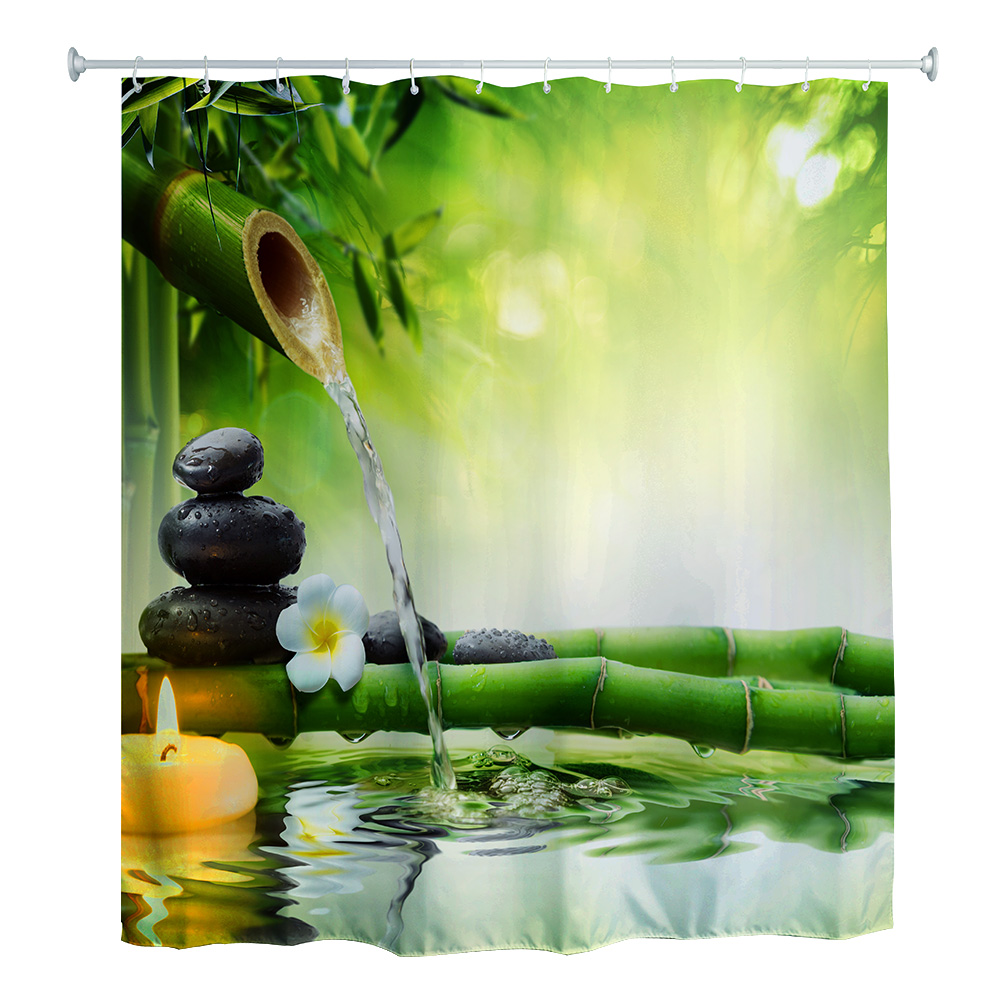 180 X 180cm Water Bamboo 3D Printed Polyester Bathroom Shower Curtain with 12 Hooks Durable and Mildew Resistant Shower Curtains