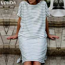 Women Striped Dress 2019 Summer VONDA Sexy O Neck Short Sleeve Backless Vintage Dresses Casual Loose Vestidos Plus Size M-5XL
