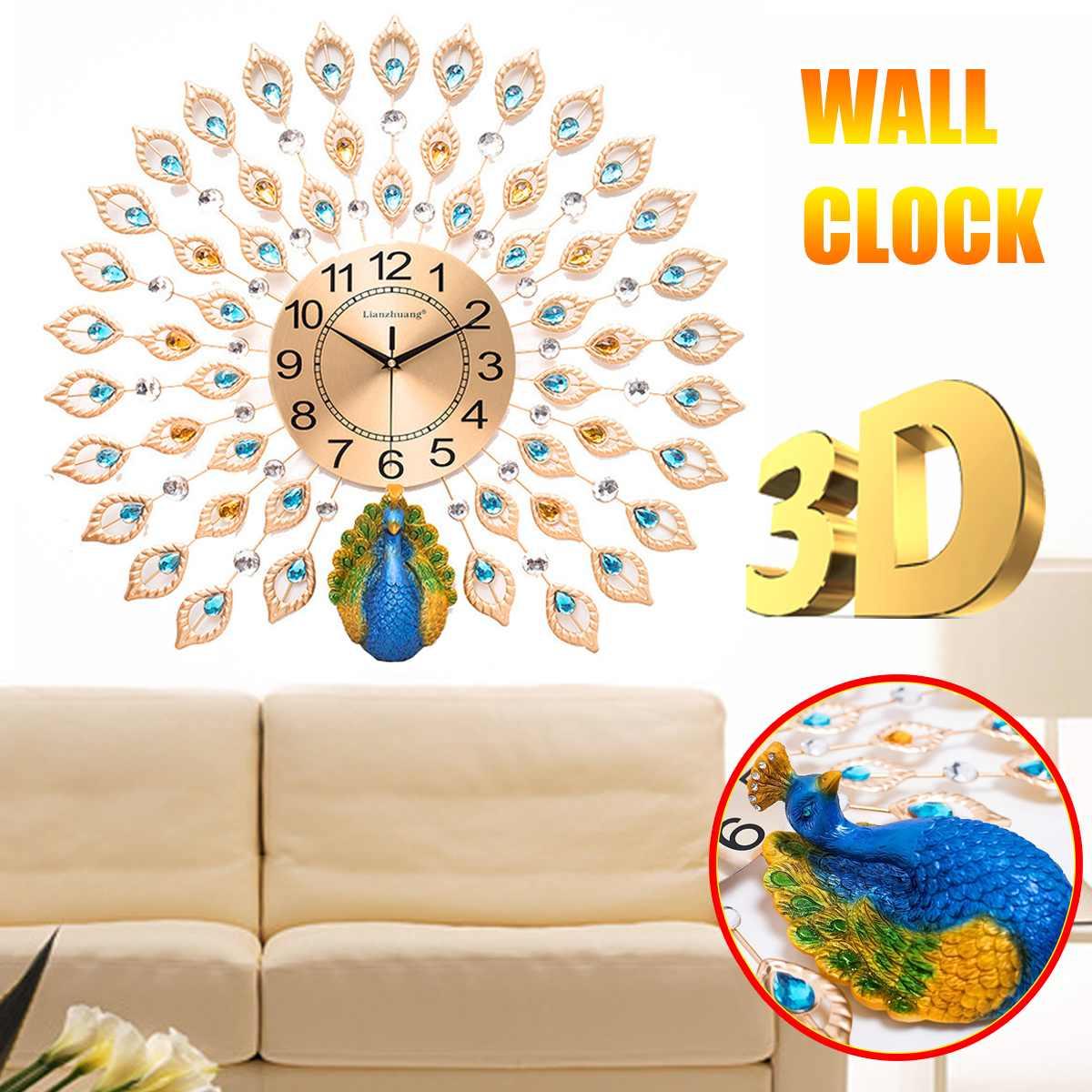 Grand 3D diamant cristal Quartz paon horloges murales Design moderne européen pour la maison salon décor chambre silencieux horloge mur