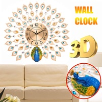 Large 3D Diamond Crystal Quartz Peacock Wall Clocks European Modern Design for Home Living Room Decor Bedroom Silent Clock Wall