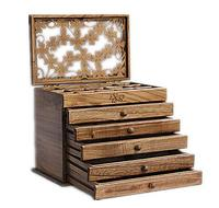 Clover real wood jewelry box retro style large multilayer marriage holiday gift makeup organizer storage box 31*20*25CM
