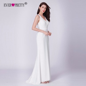 Image 3 - Elegant Ivory Wedding Dress Boho Robe De Mariee Simple A Line V Neck Sleeveless Lace Bridal Gowns Sweep Train Vestido De Noiva
