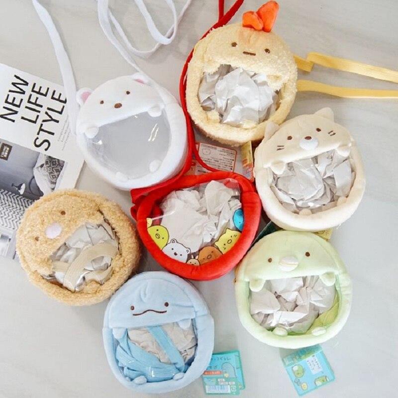 1 Pc Kawaii Japanese Sumikko Corner San-X Corner Bio Plush Backpack Handheld Biological Cloak Women Animal Bag Wallet Girls Gift