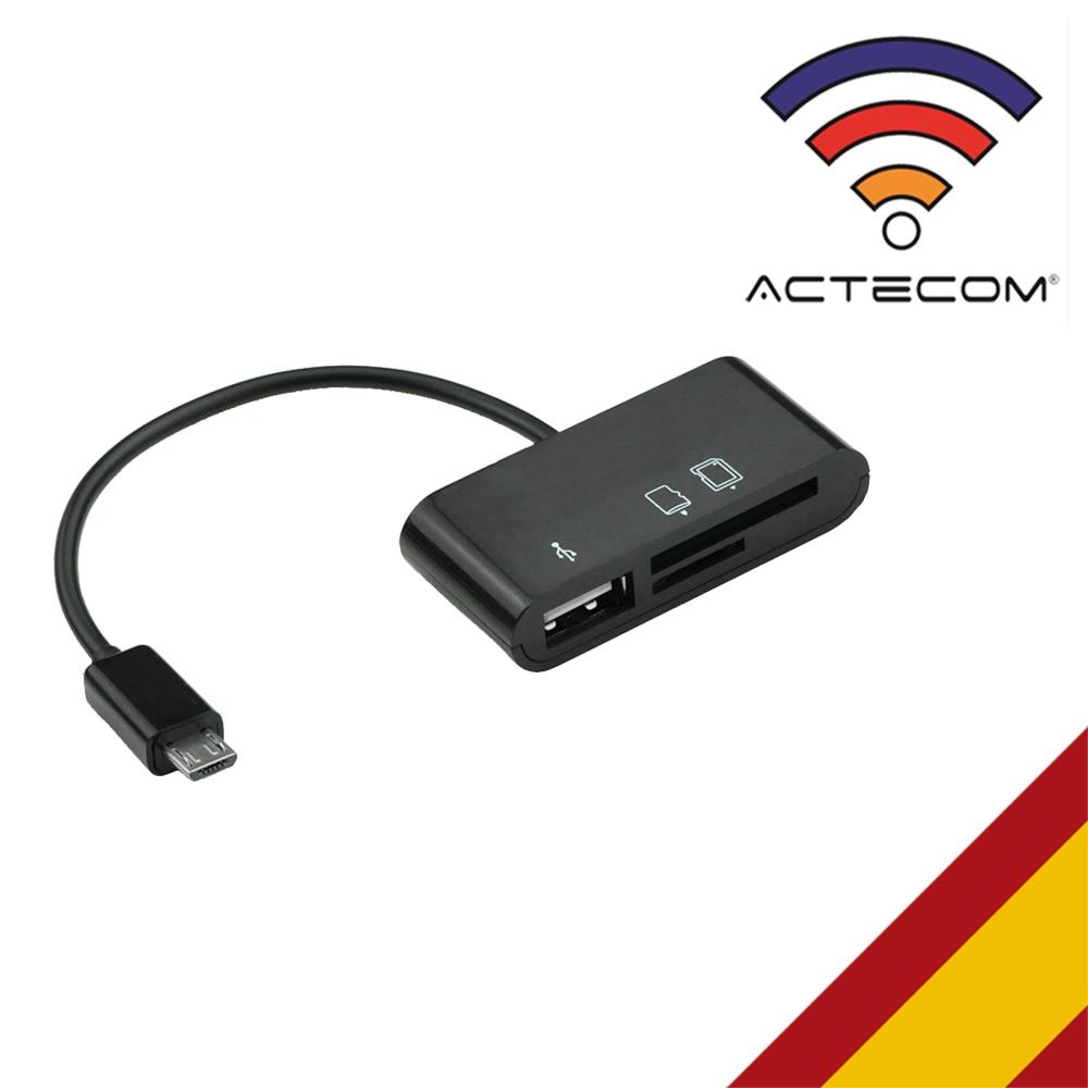 ACTECOM CABLE ADAPTADRO OTG + LECTOR A MICRO USB PARA HUAWEI XIAOMI MEIZU BQ