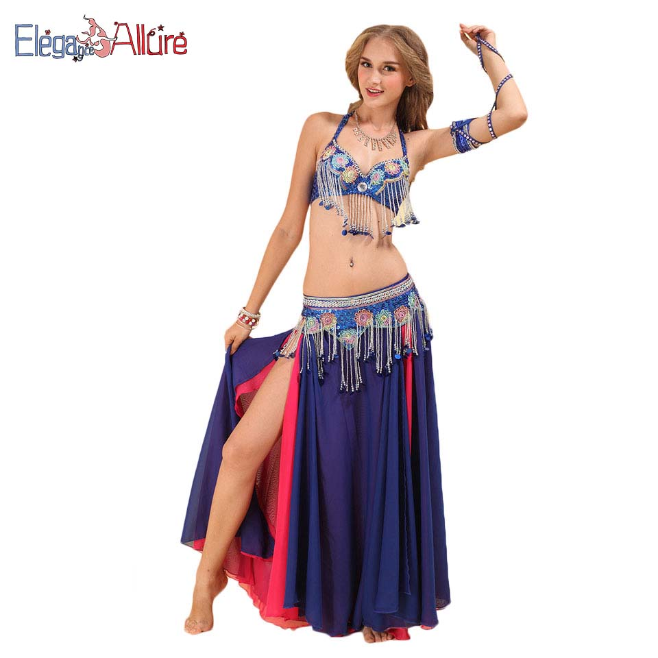 E A 3pcs Dancer Performance Clothes Female Belly Dance Costume Women Bellydance Professional Bra Belt Skirt Set Lady Long Dress in Belly Dancing from Novelty Special Use