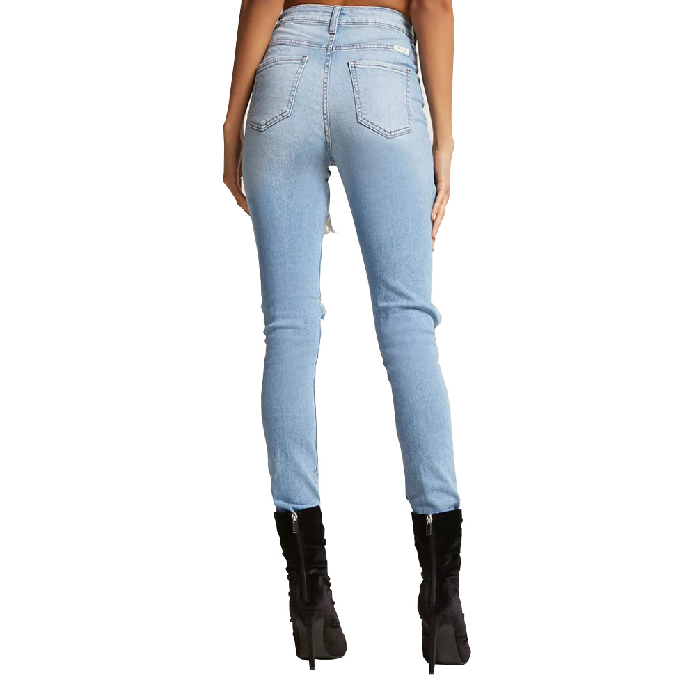 Women Ripped Jeans Elastic Destroyed Hole Pants Denim Ripped Jeans Casual High Waist Loose Pants Boyfriend Jeans Plus Size