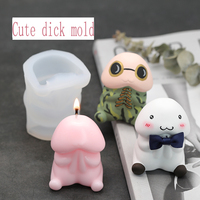 3D Cute Dick Silicone Candle Mold Suit for making mousse cakes chocolate jelly Aroma plaster handmade mold soap Gypsum crafts