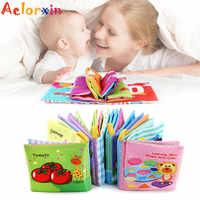 Pädagogisches Spielzeug Weichen Buch Gemüse Obst Infant Tuch Buch Rasseln Frühe Lernen Baby Spielzeug 0-12 Monate Spielzeug Für babys