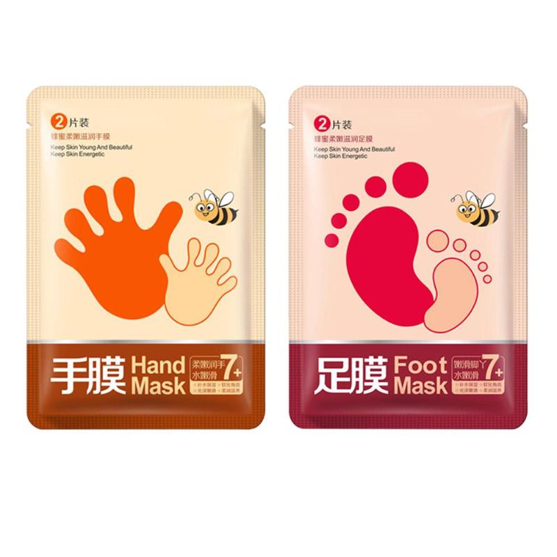 1Pair Hand/Foot Mask Honey Exfoliate Dead Skin Remove Moisturizing Whitening Peeling Hand Foot Mask Spa 2018 New Arrival