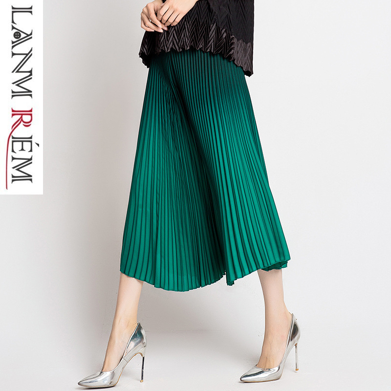LANMREM High Quality Summer Pleated Clothes For Women 2019 Fashion New Wide Leg Pants Gradient Calf