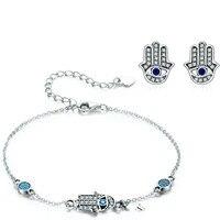 Authentic 925 Sterling Silver Hand Of Fatima Link Bracelets For Women & Earrings Jewelry Sets Luxury Jewelry Gift Zhs109