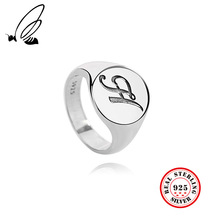 100% 925 Sterling Silver Rings Jewelry Letter H Vintage For Female Wedding Women Friend Gift
