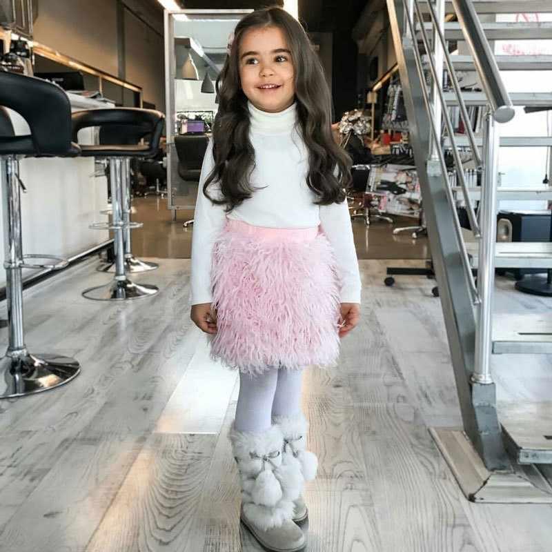 New 2018ins Mùa Xuân Và Mùa Thu Mùa Đông Cô Gái Bắt Chước Len Lint Nửa-cơ thể Váy Thương Mại Nước Ngoài Trẻ Em của Trẻ Em May Mặc quần áo