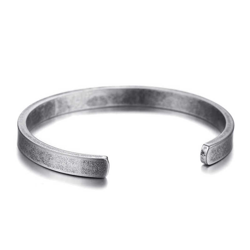 Men's Vintage Cuff Bracelet Bangle for Women Original Railroad Antique Silver Color Solid Stainless Steel Braslet Jewelry