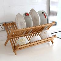 20 Grid Kitchen Bamboo Double Layer Storage Rack Kitchen Dish Rack Drainboard Foldable Storage Shelf