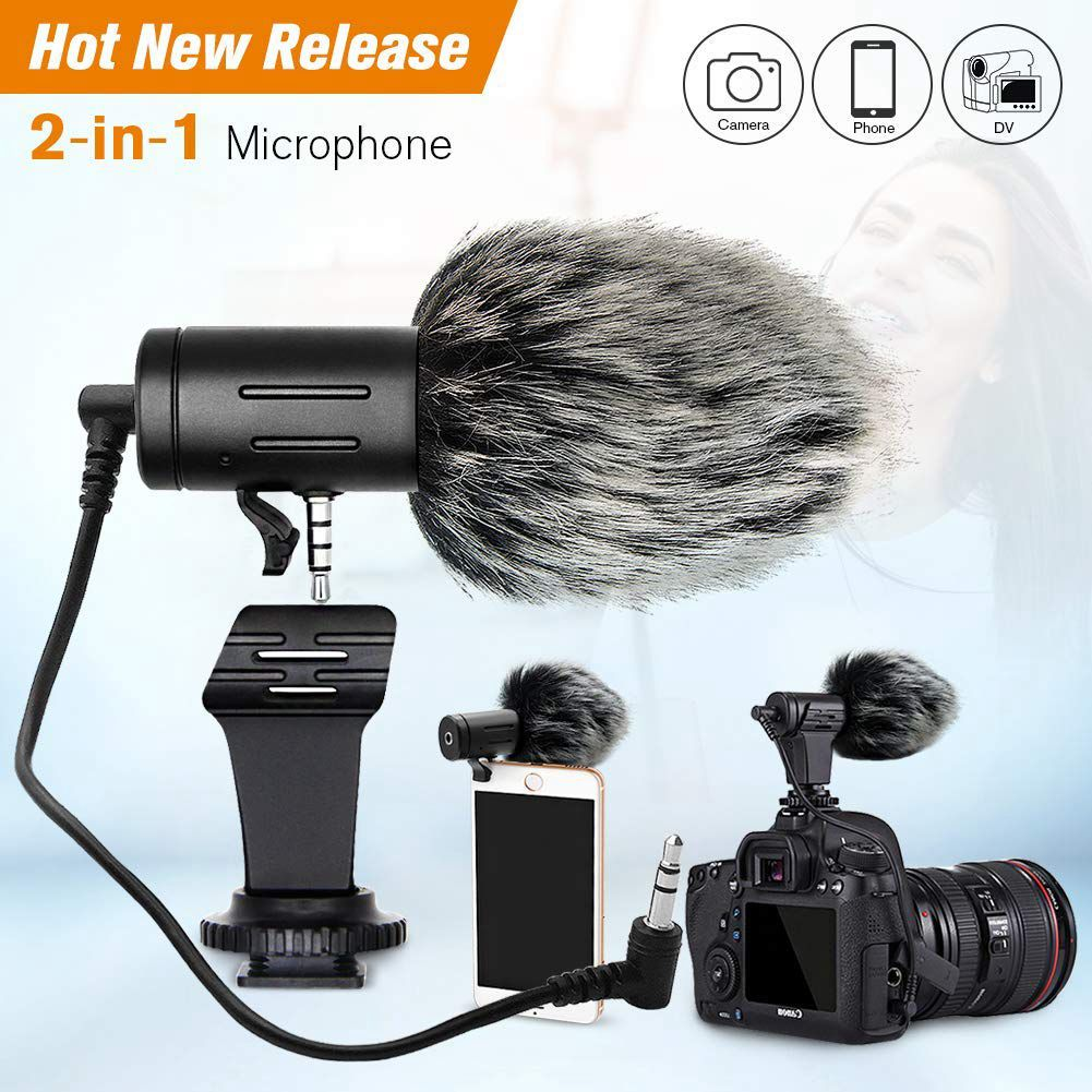SQPP Portable Camera Microphone, Rabbit Hair Video Interview Microphone Directional Recording Mic With Shock Mount For Iphone