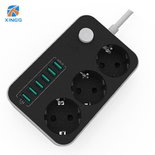 EU European Plug Power Strip Switch 3 Outlets 6 USB Charging Ports Extension Socket Cord Cable Surge Protector