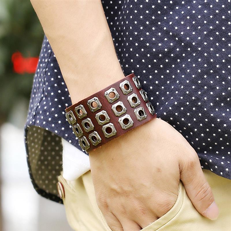 YAKAMOZ Rock Wide Cuff Bracelet Männer geflochtene Nieten breite - Modeschmuck - Foto 6