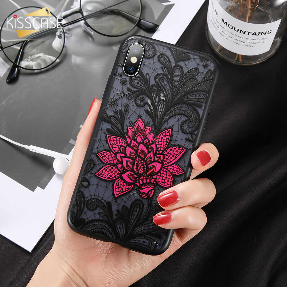 KISSCASE Flower Case For Huawei P Smart Plus Nova 3i Mate 20 Lite Sexy 3D Embossed Lace Case For Huawei P8 Lite 2017 P20 Pro P10