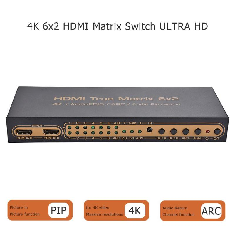 4Kx2K HDMI 6x2 3D HDTV HD True Matrix HDMI Switch Splitter Audio Extractor4Kx2K HDMI 6x2 3D HDTV HD True Matrix HDMI Switch Splitter Audio Extractor