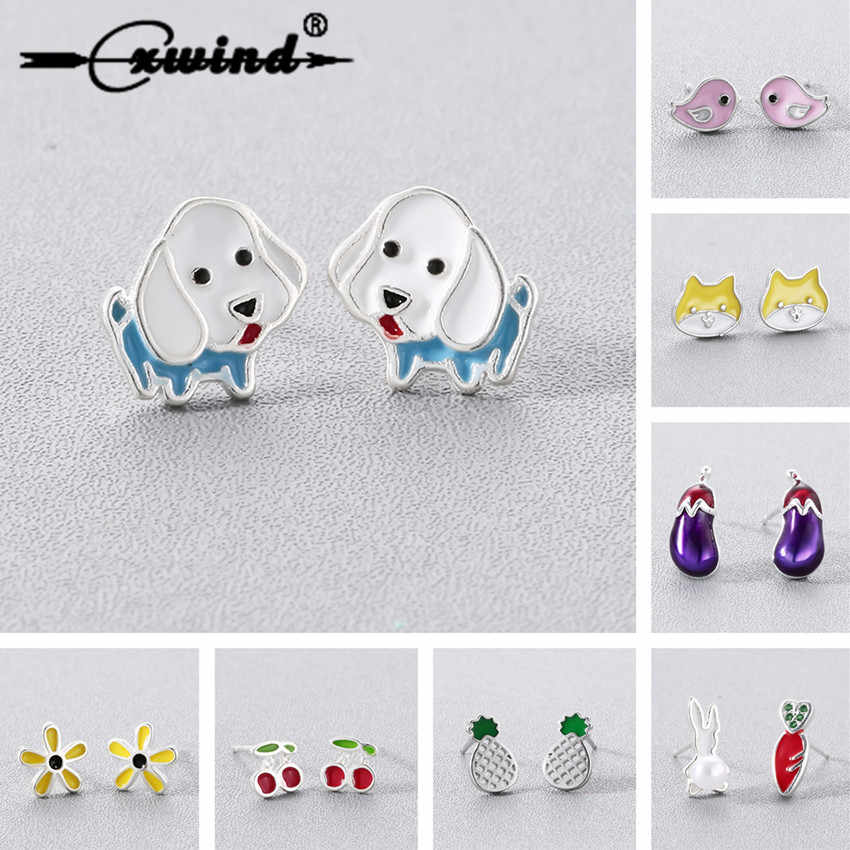 Cxwind Cartoon Enamel Rabbit Earring Boy Girl Animal Bee Flower Dog Stud Earrings for Women Lady Korean Minimalist Jewelry