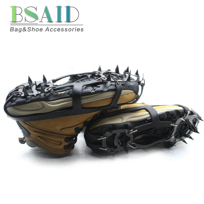 BSAID 1 Pair Non-Slip Crampons Ice Gripper 18 Teeth Spike Grips Cleats For Ice Snow Climbing Hiking Women Men Boots Shoe Covers