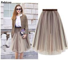 Midi Tulle Skirts Woman TUTU Skirt Elegant Wedding Bridal Bridesmaid Petticoat