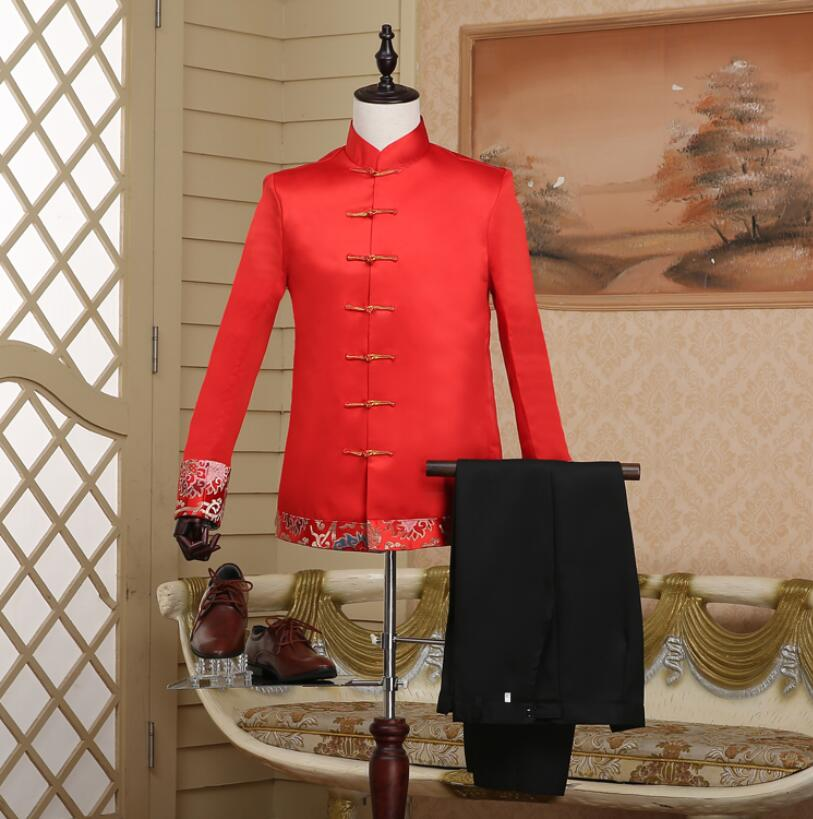 High Quality Chinese Traditional Wedding Formal Dress Tang Suit Chinese Tunic Suit The Groom Suit Ancient Costumes ! S M L