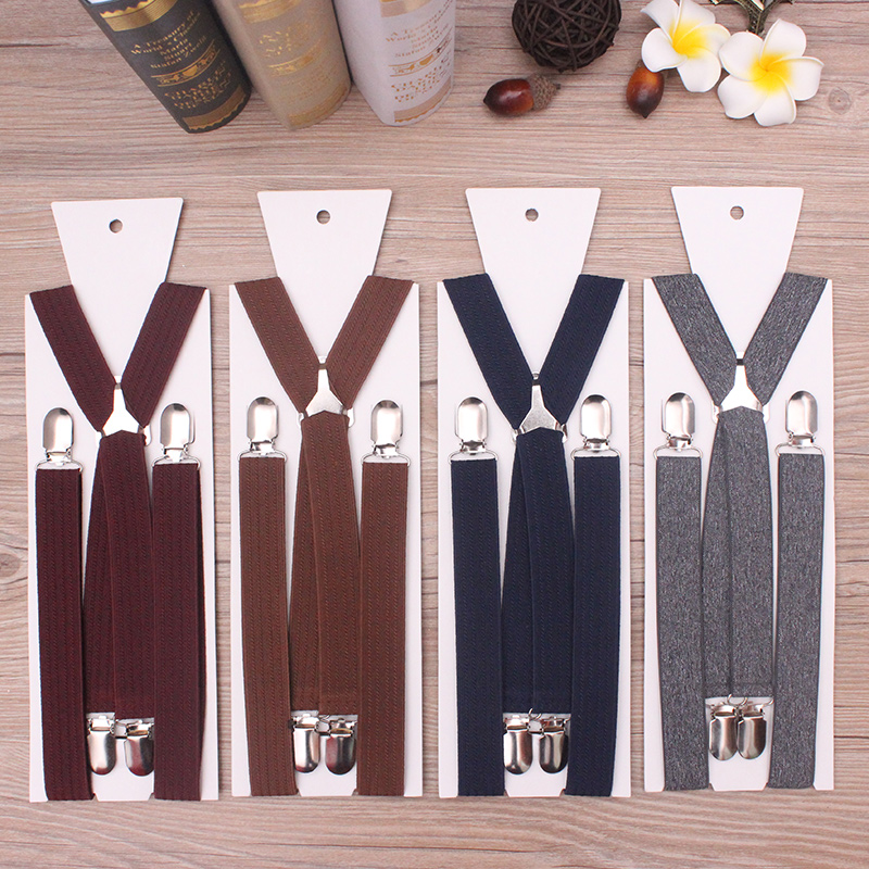 1 Inch Width Triangle Metal X Back Suspensorio Classic 4 Clips High Elastic Adjustable Men Gift Suspenders Braces Husband Father