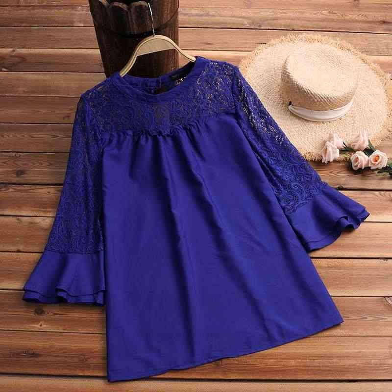 ZANZEA 2019 для женщин кружево Лоскутная блуза рубашка Дамы Flare рукавом Blusas повседневное однотонные элегантные туника топ Feminina работы Blusa