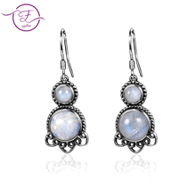 Jewelry 925 sterling silver pendant earrings 5MM & 9MM round natural moonstone cute cat ear earrings women fashion wedding party