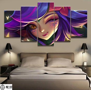 5 Panel LOL League of Legends Neeko Game Canvas Printed Painting For Living Room Wall HD Picture Artworks Poster Wholesale